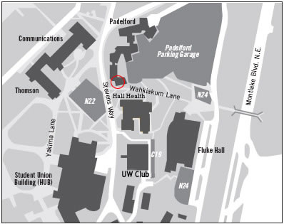 Map showing Padelford Hall location