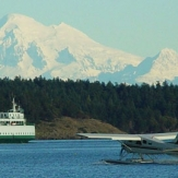 Snowy mountains over Friday Harbor