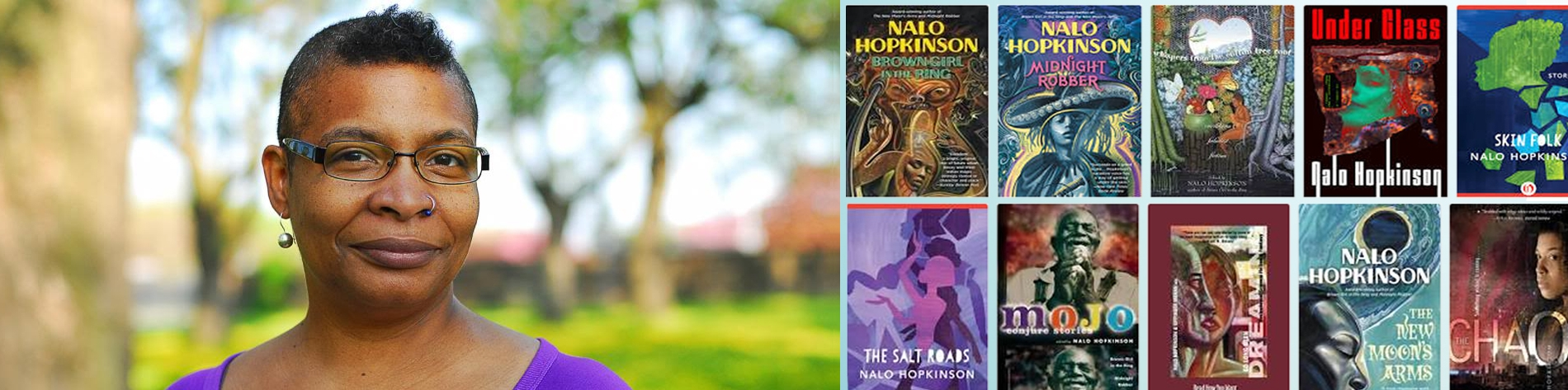 Nalo Hopkinson and images of her many books