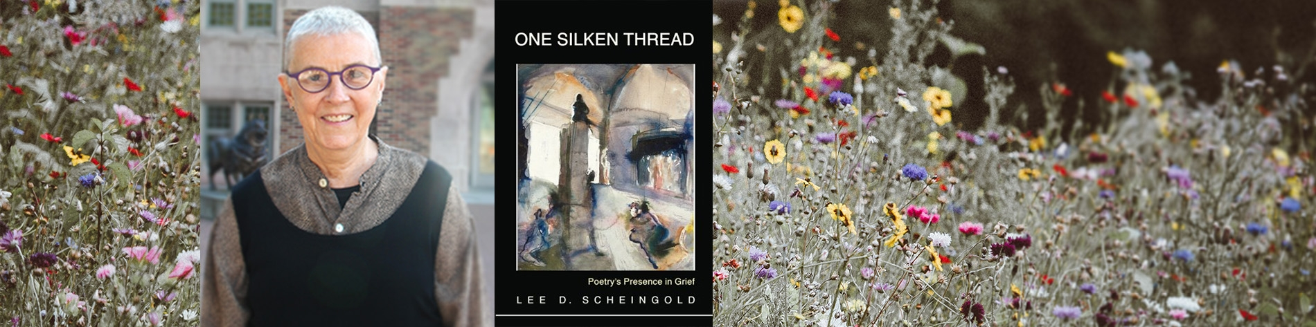 A woman and the book cover of One Silken Thread and flowers
