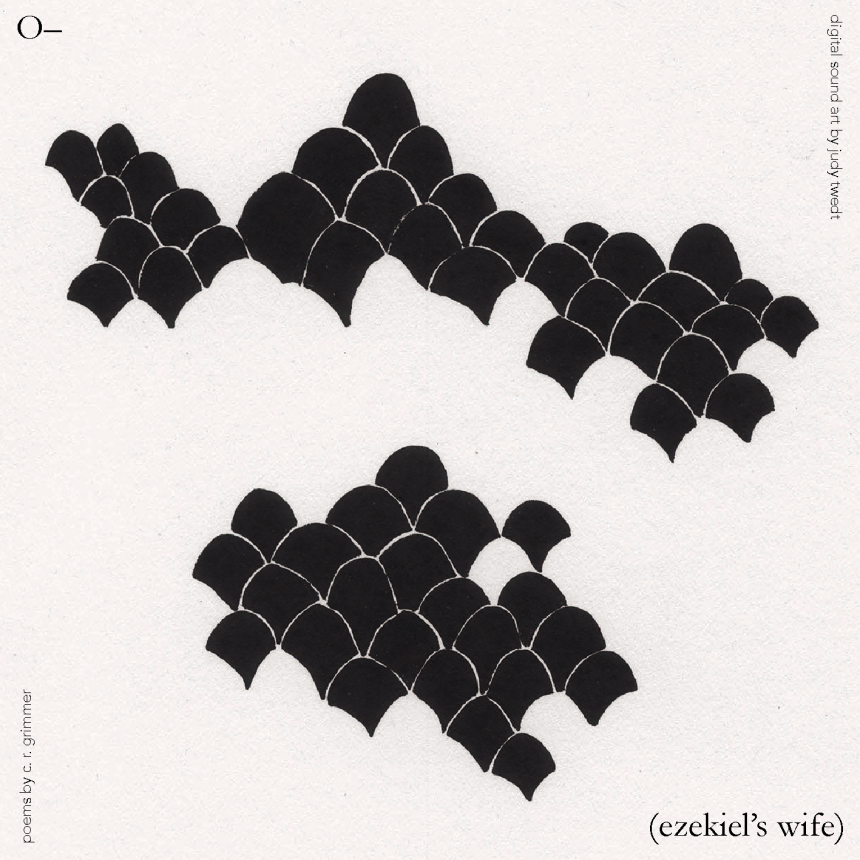 """Repeated black ink mounds intersect with each other, which cream white space with a """"rough paper"""" texture in the backdrop. Each edge of the square image has text relevant to the book: title, author name, and collaborator names."""