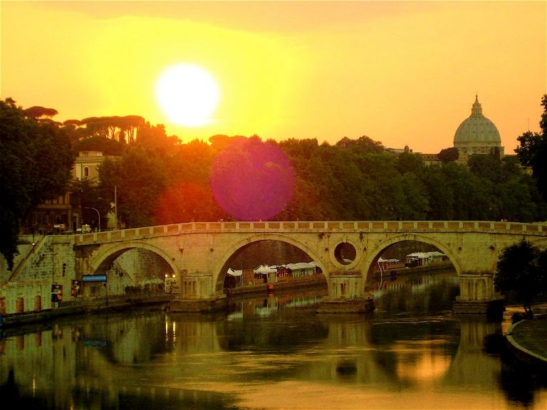 Tiber River at sunset, Rome