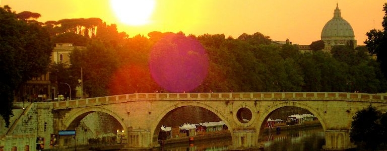 Tiber River at sunset, Rome